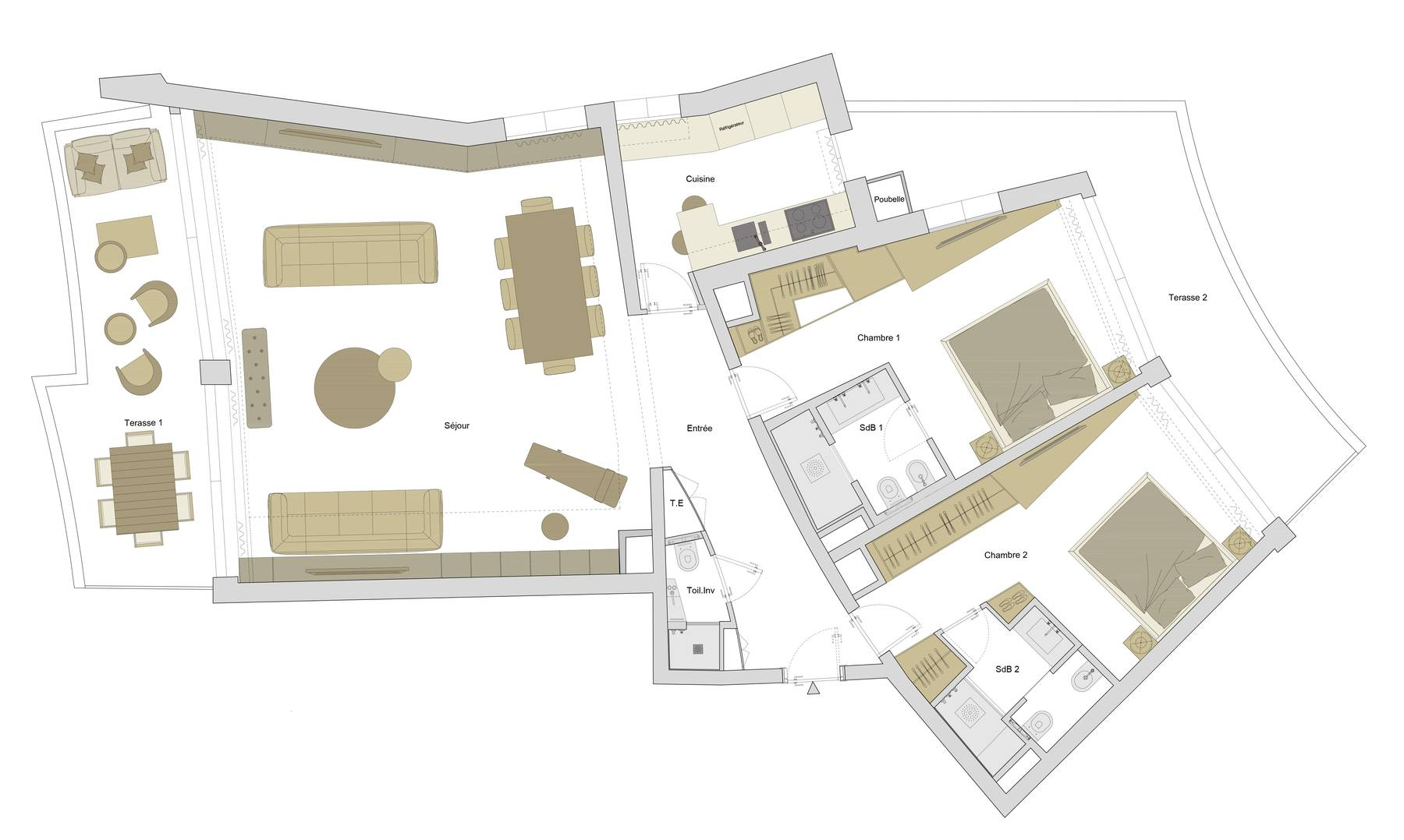 PLAN DE L'APPARTMENT - SOLUTION 2